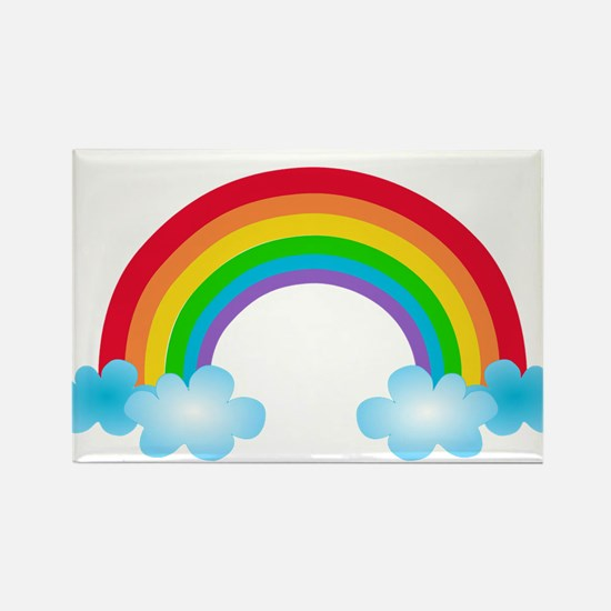 Rainbow & Clouds Rectangle Magnet