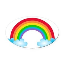 Rainbow & Clouds Oval Car Magnet