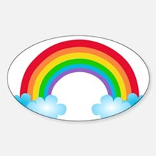 Rainbow & Clouds Sticker (Oval)