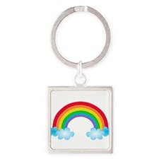 Rainbow & Clouds Square Keychain