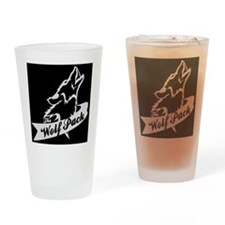 Black w0lfpack logo Drinking Glass
