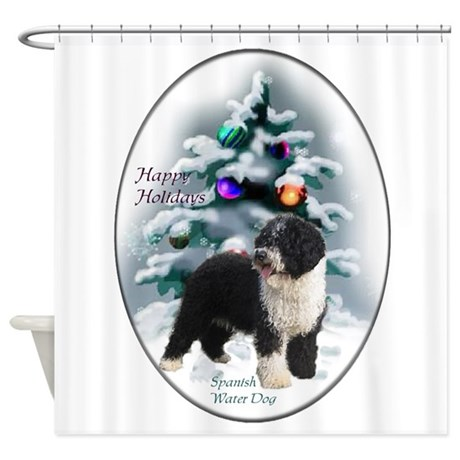 Spanish Water Dog Christmas Shower Curtain By Shopspringdale