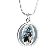 Spanish Water Dog Silver Round Necklace