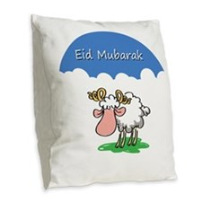 Eid mubarak Burlap Throw Pillow