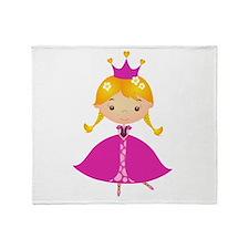 Pink Crown Princess Throw Blanket
