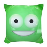 Candy Smiley - Green Woven Throw Pillow
