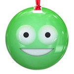 Candy Smiley - Green Round Ornament