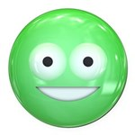 Candy Smiley - Green Round Car Magnet