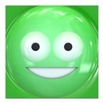 Candy Smiley - Green Square Car Magnet 3