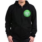 Candy Smiley - Green Zip Hoodie (dark)
