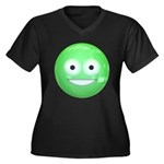 Candy Smiley - Green Women's Plus Size V-Neck Dark