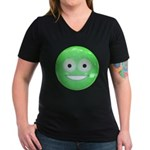 Candy Smiley - Green Women's V-Neck Dark T-Shirt
