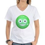 Candy Smiley - Green Women's V-Neck T-Shirt