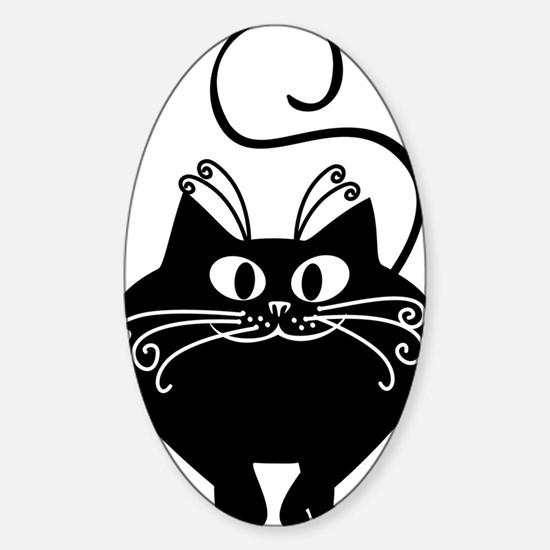 grinning fat black cat Sticker (Oval)