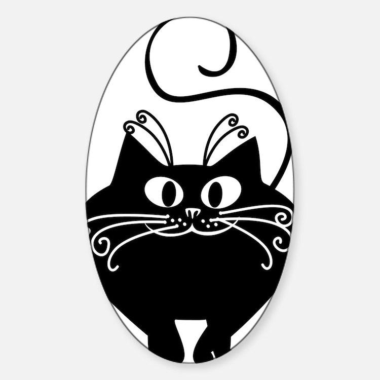 grinning fat black cat Sticker (Oval)