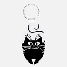grinning fat black cat Keychains