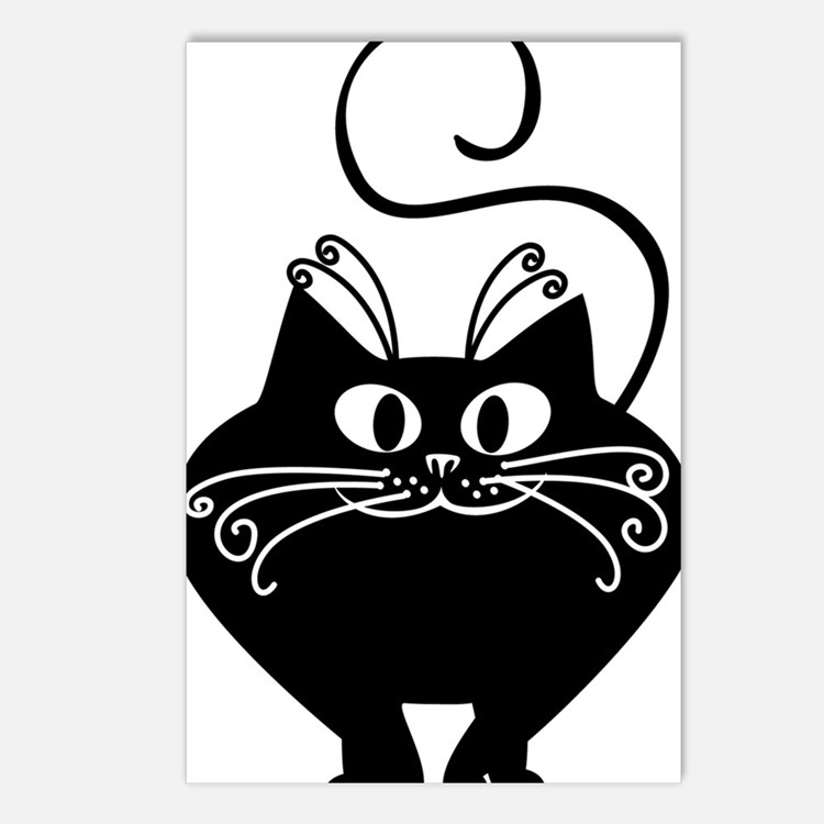 grinning fat black cat Postcards (Package of 8)