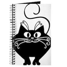 grinning fat black cat Journal