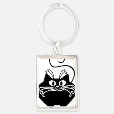 grinning fat black cat Portrait Keychain