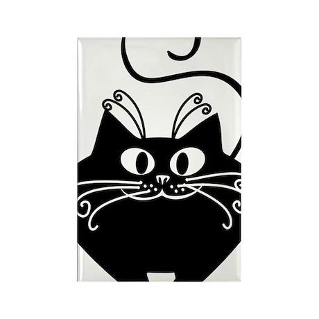 grinning fat black cat Rectangle Magnet
