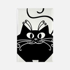 grinning fat black cat Rectangle Magnet