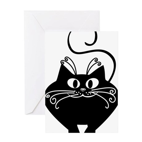 grinning fat black cat Greeting Card