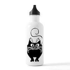 grinning fat black cat Water Bottle
