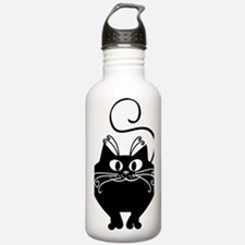 grinning fat black cat Water Bottle