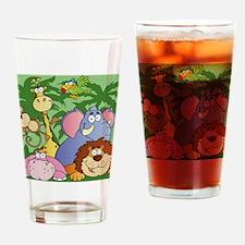 cute cartoon jungle animals cartoon Drinking Glass
