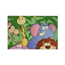 cute cartoon jungle animals carto Rectangle Magnet