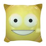 Candy Smiley - Yellow Woven Throw Pillow
