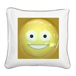 Candy Smiley - Yellow Square Canvas Pillow