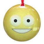 Candy Smiley - Yellow Round Ornament