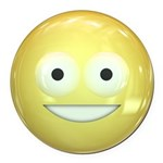 Candy Smiley - Yellow Round Car Magnet