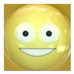 Candy Smiley - Yellow Square Car Magnet 3