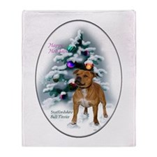 Staffordshire Terrier Christmas Throw Blanket