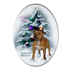 Staffordshire Terrier Christmas Ornament (Oval)