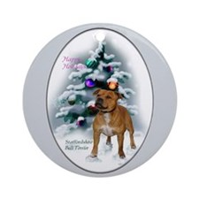 Staffordshire Terrier Christmas Ornament (Round)