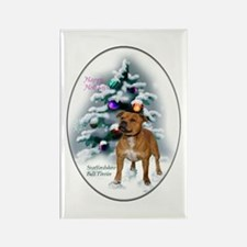 Staffordshire Terrier Christmas Rectangle Magnet (