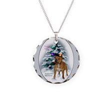 Staffordshire Terrier Christmas Necklace Circle Ch
