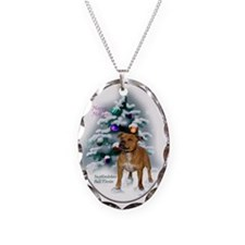 Staffordshire Terrier Christmas Necklace Oval Char
