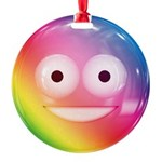 Candy Smiley - Rainbow Round Ornament