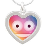 Candy Smiley - Rainbow Silver Heart Necklace