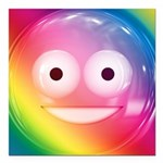 Candy Smiley - Rainbow Square Car Magnet 3