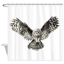 Striking Hunting Watercolor Owl Logo Shower Curtai