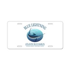 Blue Lightning Aluminum License Plate