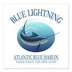 Blue Lightning Square Car Magnet 3