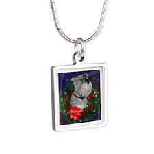 Standard Schnauzer Christmas Silver Square Necklac