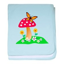 Toadstool w/ Orange Butterfly baby blanket