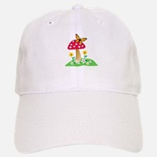 Toadstool w/ Orange Butterfly Baseball Baseball Cap